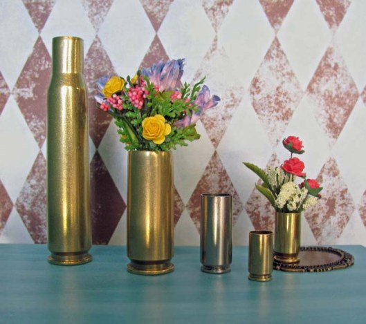 Brass Shells Transformed into Flower Vases in 1:6 Scale